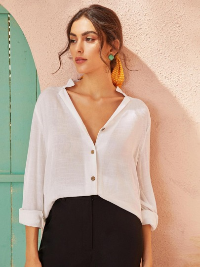 Notched Neck Button Front Solid Blouse