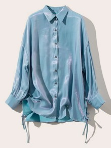 Drop Shoulder Knot Side Metallic Blouse