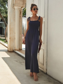 Wide Leg Shirred Cami Jumpsuit