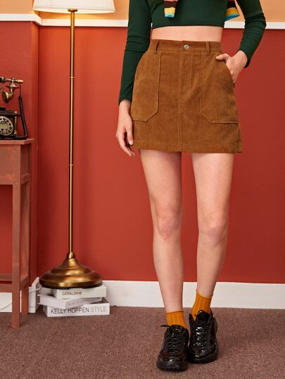 Pocket Side Solid Corduroy Skirt