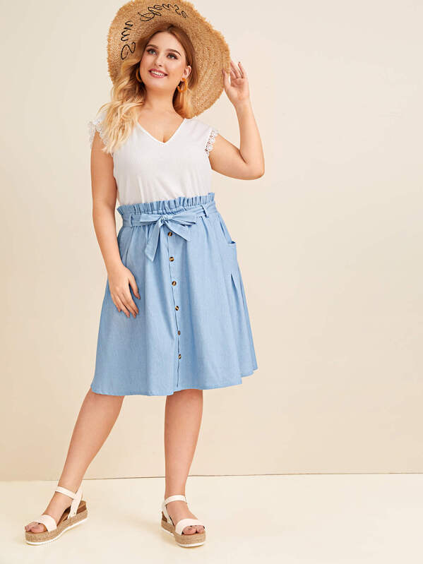 56473d527ffec Plus Button Front Belted Denim Midi Skirt