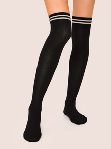Striped Pattern Knee Length Socks 1pair