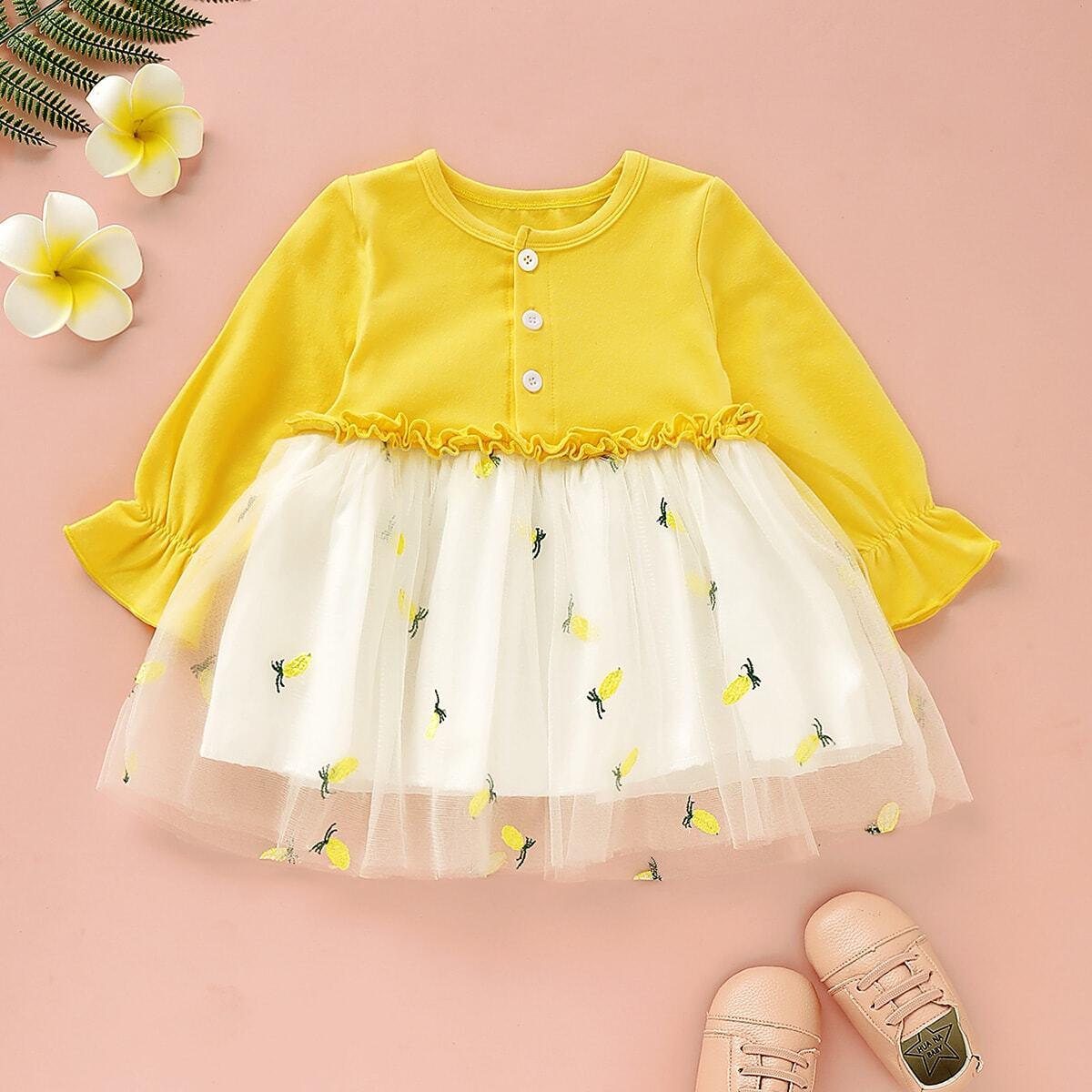 Платье с сетчатыми вставками и вышивкой для девочек от SHEIN