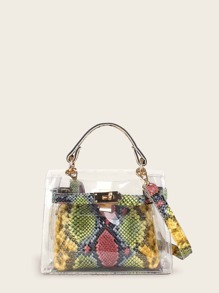 Clear Satchel Bag With Snakeskin Inner Pouch