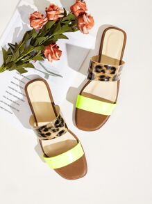Double Strap Leopard Flat Sliders