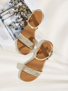 Metallic Braided Strap Flat Sandals