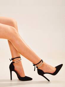 Point Toe Faux Pearl Ankle Strap Stiletto Heels