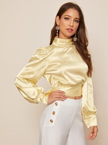 Backless Tie Back Bishop Sleeve Satin Blouse