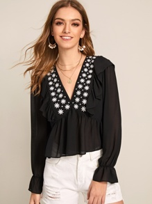 V-neck Embroidery Ruffle Hem Blouse