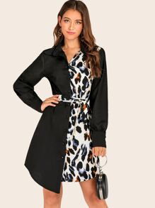 Leopard Print Panel Belted Shirt Dress