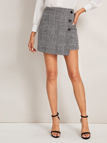 Houndstooth Button Detail Tweed Skirt