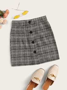 Plaid Single-breasted Skirt