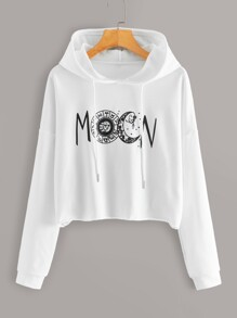 Letter Graphic Drawstring Hoodie