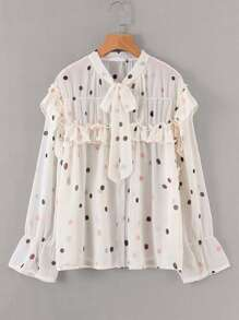 Polka Dot Tie Neck Chiffon Blouse