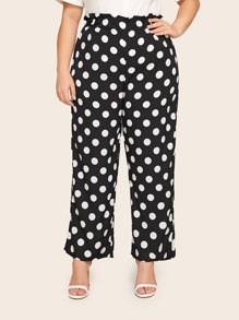 Plus Polka Dot Paperbag Waist Pants