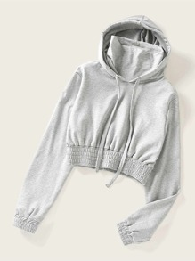 Shirred High Neck Hooded Sweatshirt