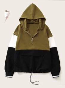 Colorblock Zip Half Hooded Sweatshirt