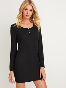 Button Front Rib-Knit Dress