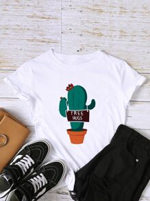 Cactus And Letter Graphic Tee