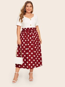 Plus Polka Dot Tie Front Paperbag Skirt