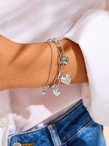 Heart Decor Chain Bracelet 1pc