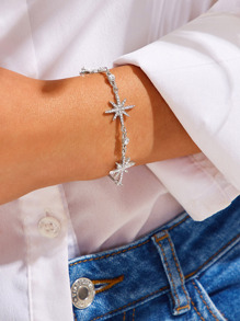 Rhinestone Engraved Star Decor Bracelet 1pc
