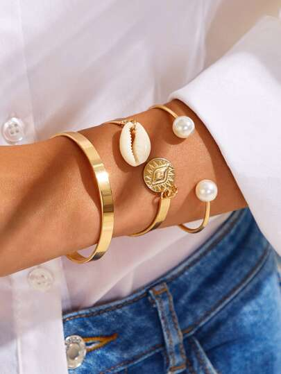 Shell & Eye Decor Cuff Bracelet 3pcs