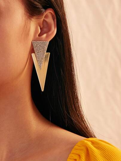Glitter Double Triangle Earrings 1pair
