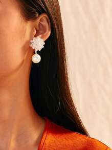 Flower Decor Faux Pearl Drop Earrings 1pair