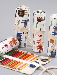 Random 24 Holes Zoo Pattern Wrap Pencil Case