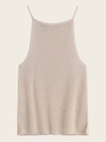 Solid Side Slit Cami Knit Top