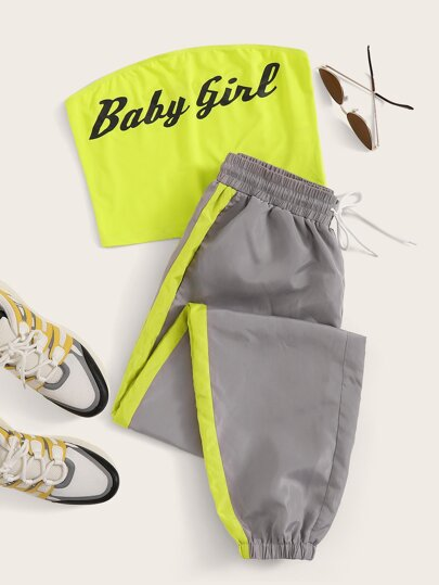 Neon Green Slogan Graphic Tube Top & Wind Pants Set