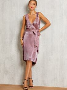 SBetro High Low Hem Wrap Belted Pleated Dress