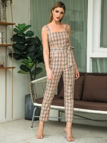 Double Crazy Plaid Zip Back Belted Straight Leg Jumpsuit