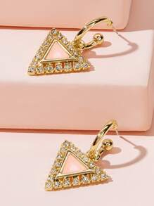 Rhinestone Engraved Triangle Drop Earrings 1pair