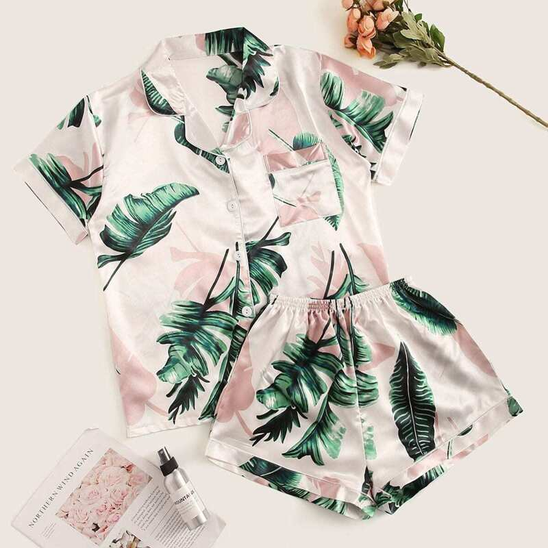 Tropical Print Satin Pajama Set, Multicolor