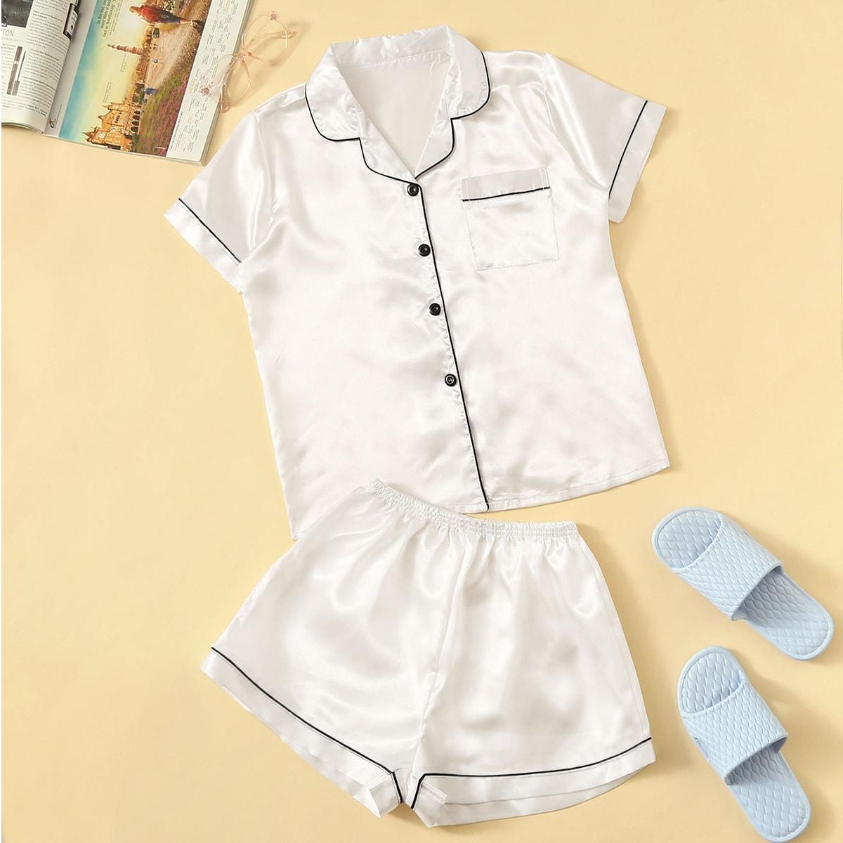 Комплект Атласная Пижама С Шортами И Контрастной Отделкой