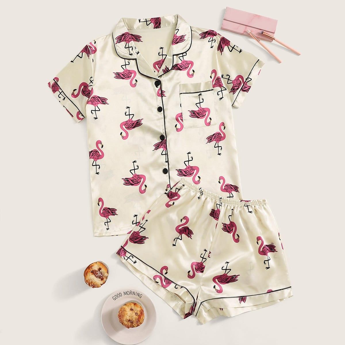 Атласная Пижама С Принтом Фламинго