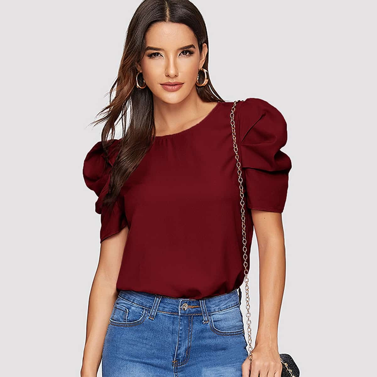 Solid Keyhole Back Puff Sleeve Top, SHEIN  - buy with discount