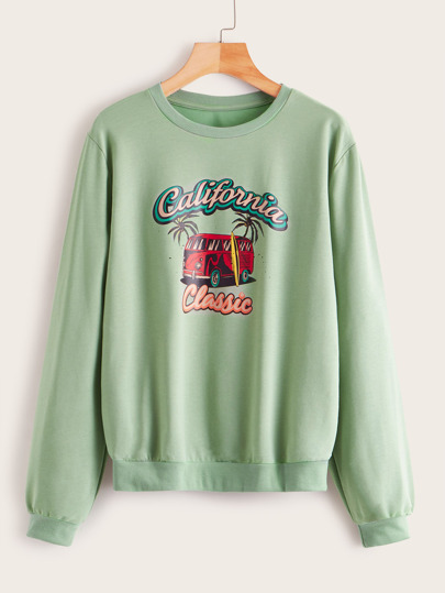 Letter And Car Print Sweatshirt