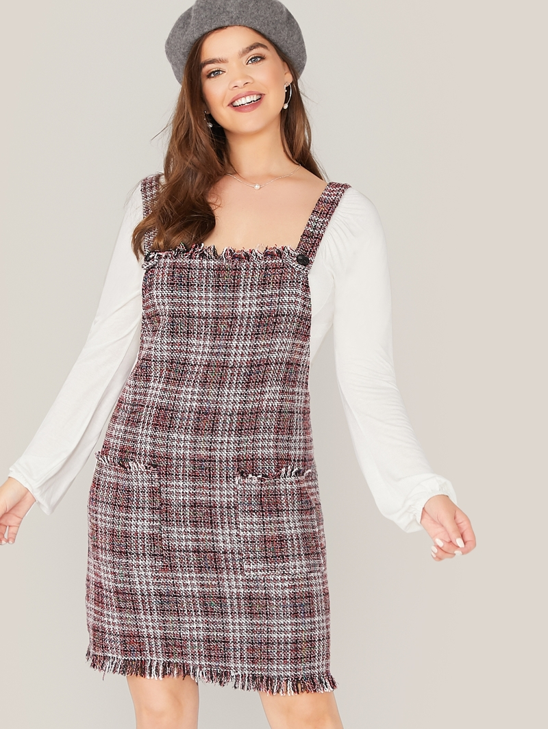fashion style 2020 unique design Plus Frayed Trim Pocket Front Tweed Pinafore Dress