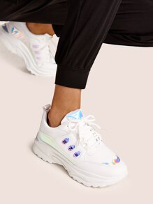 Iridescent Panel Chunky Sole Trainers