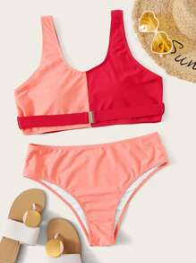 Plus Two Tone Top With High Waist Bikini