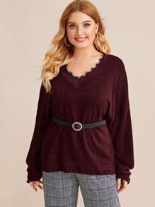 Plus Drop Shoulder Lace Panel Jumper Without Belted