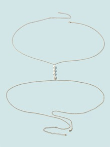 Faux Pearl Decor X Shaped Body Chain 1pc