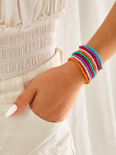 Colorful Layered Beaded Bracelet 1pc