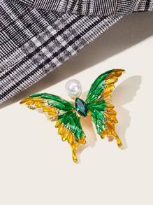 Faux Pearl Decor Butterfly Brooch 1pc