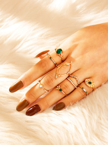 Rhinestone Decor Ring 9pcs