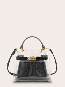 Clear Satchel Bag With Inner Croc Embossed Pouch