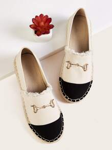 Metal Decor Two Tone Espadrille Flats